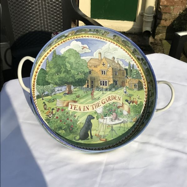 Tea in the Garden Large Deep Handled Tray